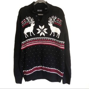 Chap's Brand Men's Black Christmas/Winter Sweater